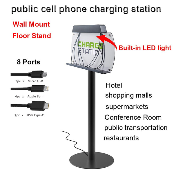 VIPATEY Wall Mount/Floor Stand public cell phone charging station LED lighting Multi-Device with 8 Ports For iPhone Samsung