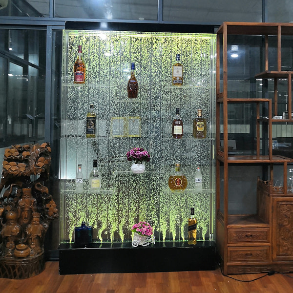 design water dancing bubble wall acrylic wine floor display stand
