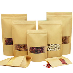 PYC Custom Packaging Stand On Self-sealing Tea Seal Bag Window Kraft Paper Bags For Food