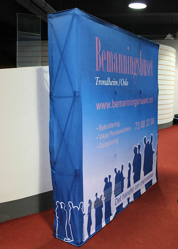8ft straight aluminium tension fabric floor stand display for pop up display banner wall