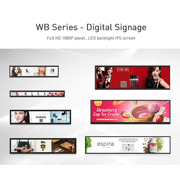 "Ultra Breite 19.3 ""Gestreckt Bar Lcd Werbung Display Kommerziellen Stretch Screen Display größe 476x125mm"